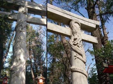 触るとご利益!龍の鳥居の神社(馬橋稲荷神社)